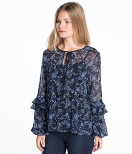 Chiffongbluse med volang