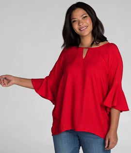 XLNT Blouse with frill sleeve