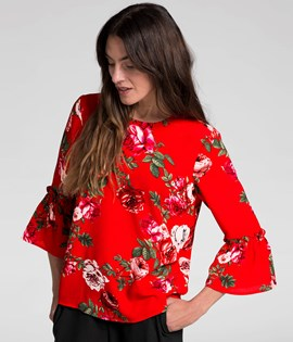 Blomstrete chiffonbluse