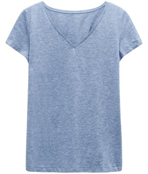 Thumbnail Basic top with V-neck - Blue - Woman - KappAhl